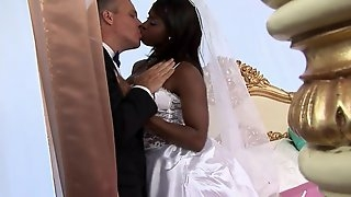Ebony bride gets analled with long white dick on wedding day