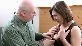 Older brunette babe gets fucked by grandpas meaty cock along with his friends