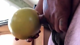 Fucking the food! Fruit for my dick