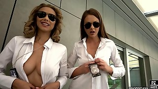 Police officers Tina Kay and Veronica Leal share a cock
