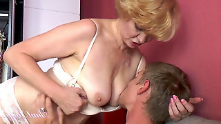 56 yr old aunt Aliona Catches Nephew Spying on her.