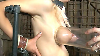 Dirty dude uses a pump espeacilly for the tits of tied up bitch Rain DeGrey