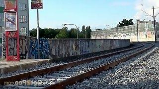 Desperate Blonde Pisses All Over Train Platform