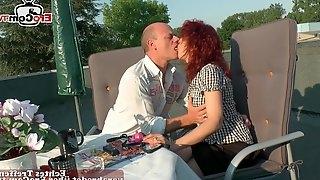 German real couple fuck outdoor in public
