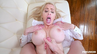 Blonde MILF Katie Monroe sucks a cock and gets fucked from in back of surreptitiously