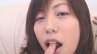 Closeup glaze of hairy Japanese girl Noa getting fingered at home