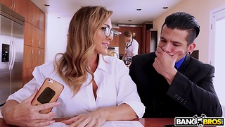 Provocative wife Aubrey Black gives head under the table and rides