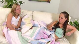 Small tits cuties Jenna Sativa and Goldie Rush fianc